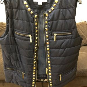 Navy Michael Kors vest with gold studding